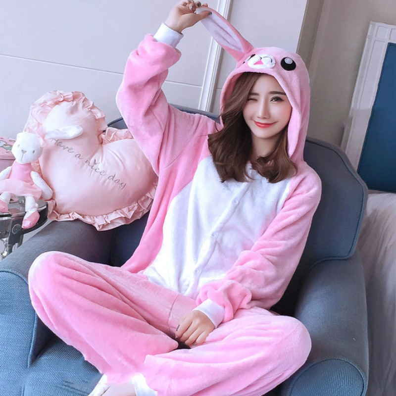 Pink Rabbit Onesie Costume Pajamas for Adults & Teens Halloween Outfit - Favounicorn.com