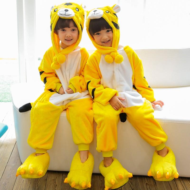 Boys Girls Tiger Novelty Hood Fleece Onesie Loungeable Boutique Unisex Kids