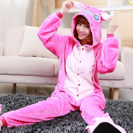 Pink Stitch Angel Onesie Costume Pajama For Adults & Teens