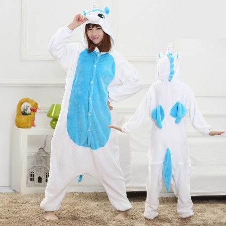 Blue Unicorn Onesie for Women & Men Costume Onesies Pajamas Halloween Outfit