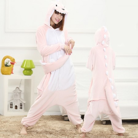 Pink Dinosaur Onesie for Women & Men Costume Onesies Pajamas Halloween Outfit