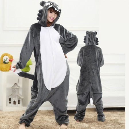 Grey Wolf Onesie for Women & Men Costume Onesies Pajamas Halloween Outfit
