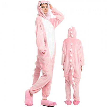 Pink Dinosaur Costume Onesie for Women & Men Pajamas Halloween Outfit