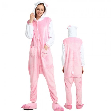 Pink Cat Costume Onesie for Women & Men Pajamas Halloween Outfit