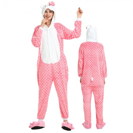 Kitty Cat Costume Onesie for Women & Men Pajamas Halloween Outfit