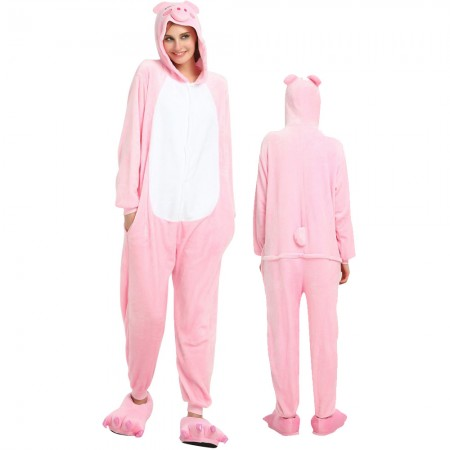 Pink Pig Costume Onesie for Women & Men Pajamas Halloween Outfit