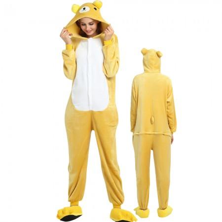 Rilakkuma Bear Costume Onesie for Women & Men Pajamas Halloween Outfit
