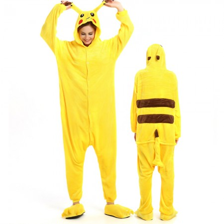 Pikachu Costume Onesie for Women & Men Pajamas Halloween Outfit