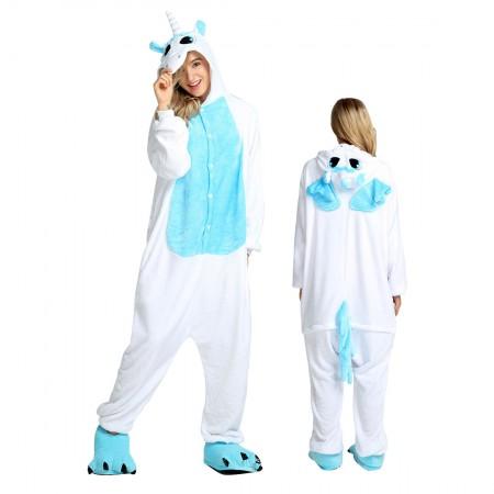 Blue Unicorn Costume Onesie for Women & Men Pajamas Halloween Outfit