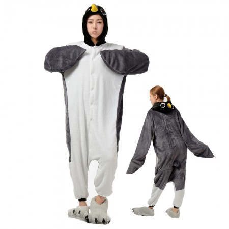 Grey Penguin Costume Onesie for Women & Men Pajamas Halloween Outfit