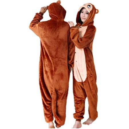 Monkey Costume Onesie for Women & Men Pajamas Halloween Outfit