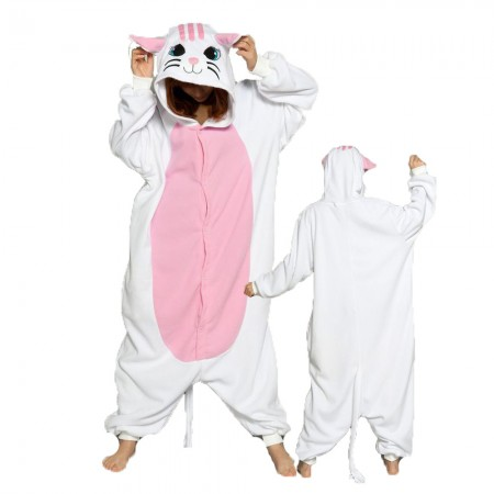 White Cat Costume Onesie for Women & Men Pajamas Halloween Outfit
