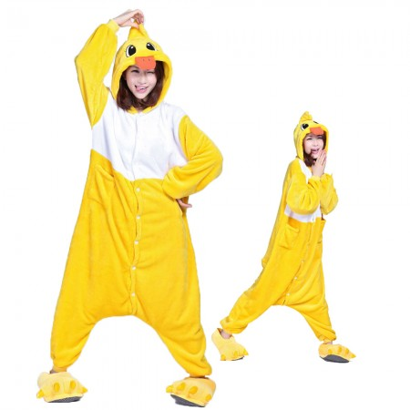 Yellow Duck Costume Onesie for Women & Men Pajamas Halloween Outfit