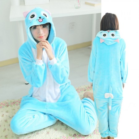 Habi Cat Costume Onesie for Women & Men Pajamas Halloween Outfit