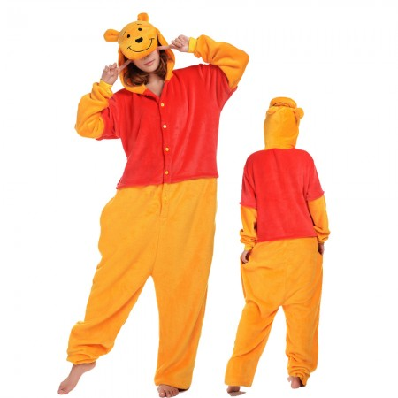 Winnie The Pooh Costume Onesie for Women & Men Pajamas Halloween Outfit