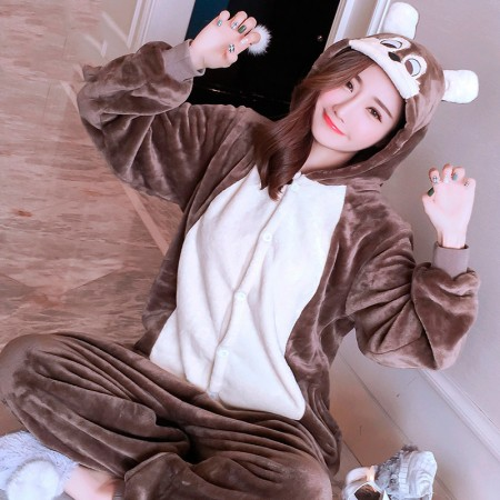 Squirrel Onesie Costume Pajamas for Adults & Teens Halloween Outfit