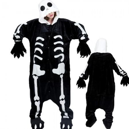 Skeleton Costume Onesie for Women & Men Pajamas Halloween Outfit