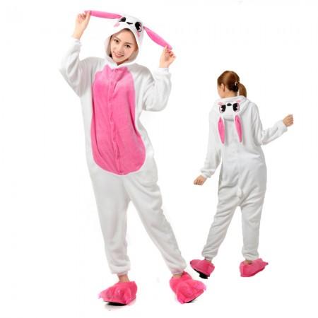 Rabbit Bunny Costume Onesie for Women & Men Pajamas Halloween Outfit