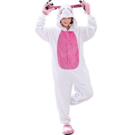 White Rabbit Costume Onesie for Women & Men Pajamas Halloween Outfit