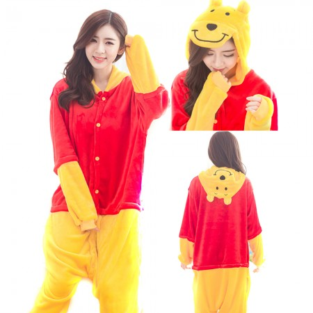 Winnie The Pooh Bear Costume Onesie for Women & Men Pajamas Halloween Outfit