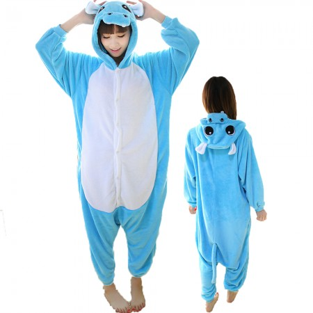 Blue Hippo Costume Onesie for Women & Men Pajamas Halloween Outfit