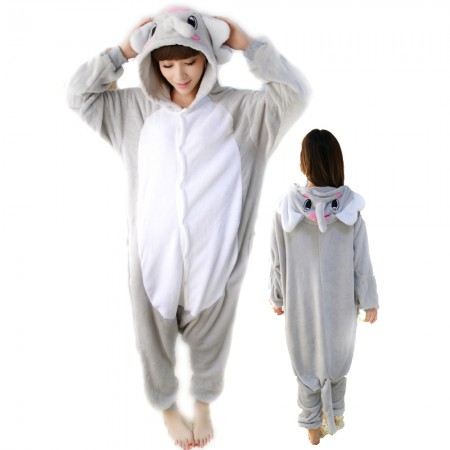Grey Elephant Costume Onesie for Women & Men Pajamas Halloween Outfit