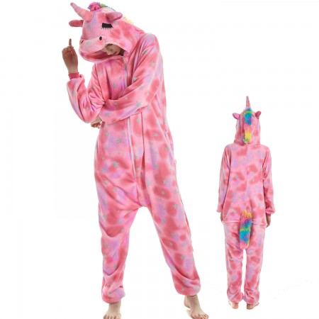 Pink Dream Unicorn Costume Onesie for Women & Men Pajamas Halloween Outfit