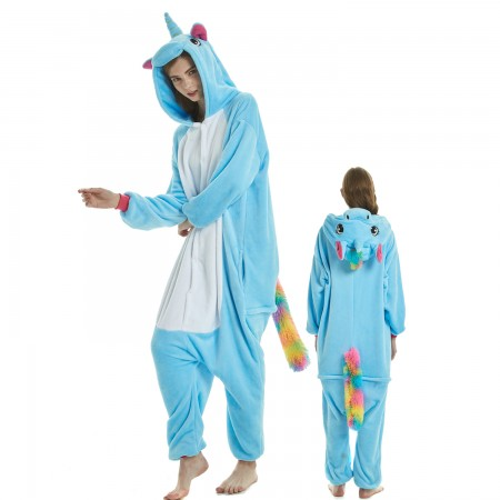 Blue Unicorn Costume Onesie for Women & Men Pajamas Halloween Outfit