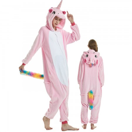 Pink Unicorn Costume Onesie for Women & Men Pajamas Halloween Outfit