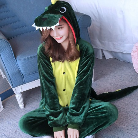 Green Dinosaur Onesie Costume Pajamas for Adults & Teens Halloween Outfit