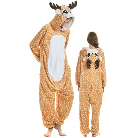 The Deer Costume Onesie for Women & Men Pajamas Halloween Outfit