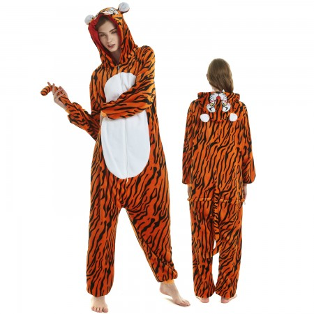 Tiger Costume Onesie for Women & Men Pajamas Halloween Outfit