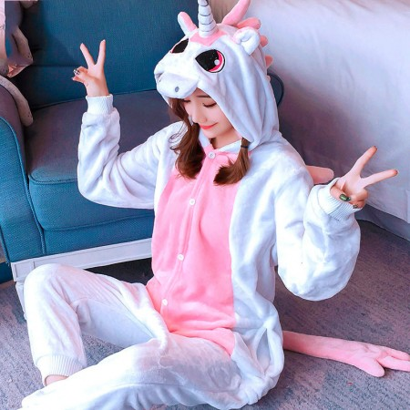 Pink Unicorn Onesie Costume Pajamas for Adults & Teens Halloween Outfit