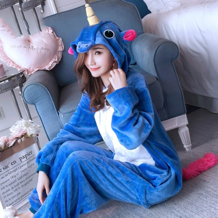 Blue Unicorn Onesie Costume Pajamas for Adults & Teens Halloween Outfit