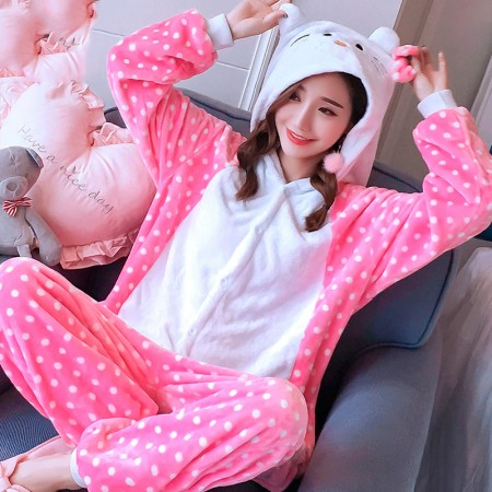 Kitty Cat Onesie Costume Pajamas for Adults & Teens Halloween Outfit