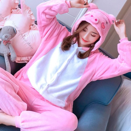 Pink Pig Costume Onesie Pajama For Adults & Teens Animal Onesies