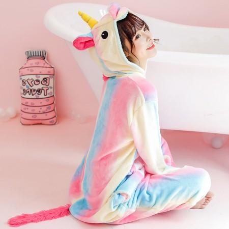 Rainbow Unicorn Onesie Costume Pajamas for Adults & Teens Halloween Outfit