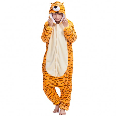 Tiger Onesie Costume Pajamas for Adults & Teens Halloween Outfit