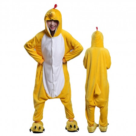 Yellow Chick Onesie Costume Pajamas for Adults & Teens Halloween Outfit