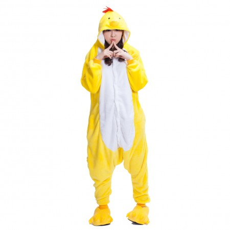Cute Chick Onesie Costume Pajamas for Adults & Teens Halloween Outfit