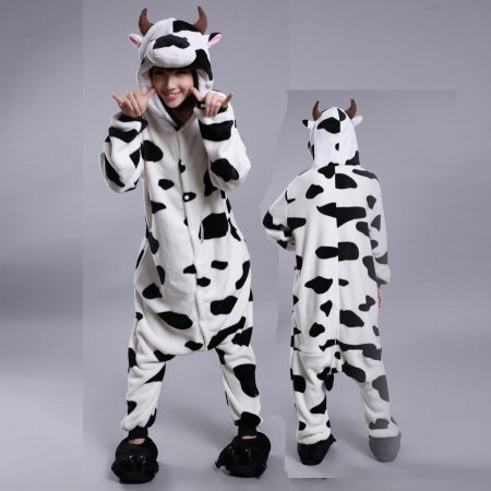 Cow Onesie Costume Pajamas for Adults & Teens Halloween Cosplay Outfit