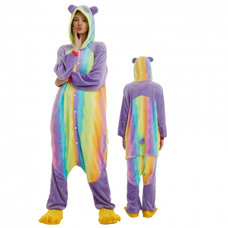 Rainbow Panda Onesie Costume Pajamas for Adults & Teens Halloween Outfit