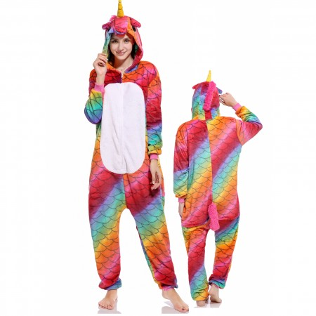 Mermaid Unicorn Onesie Costume Pajamas for Adults & Teens Halloween Outfit
