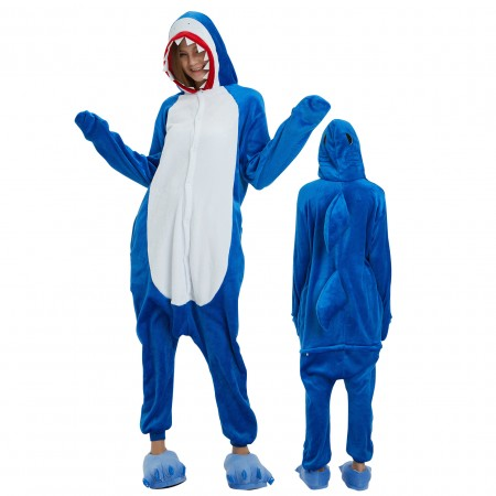 Blue Shark Onesie Costume Pajamas for Adults & Teens Halloween Outfit