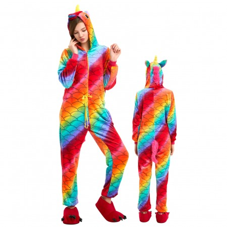 Mermaid Unicorn Onesie Costume Pajamas Adults & Teens Halloween Outfit