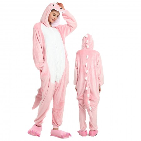 Women & Men Pink Dinosaur Onesie Costume Onesies Pajamas for Halloween