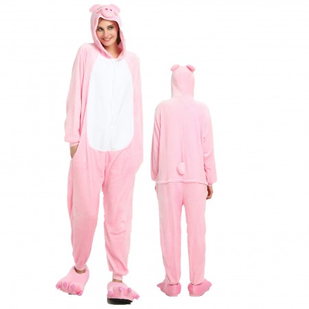 Women & Men Pink Pig Onesie Costume Onesies Pajamas for Halloween