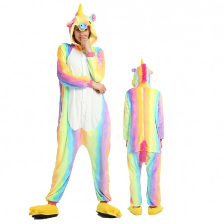 Women & Men Rainbow Unicorn Onesie Costume Onesies Pajamas for Halloween