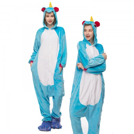 Blue Unicorn Onesie for Women & Men Unicorn Costume Onesies Pajamas Halloween Outfit