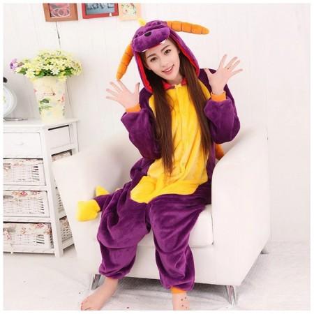Purple Dragon Onesie for Women & Men Costume Onesies Pajamas Halloween Outfit